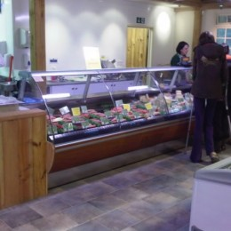 Curved glass jordao in butchery and delicatessen  in farm shop
