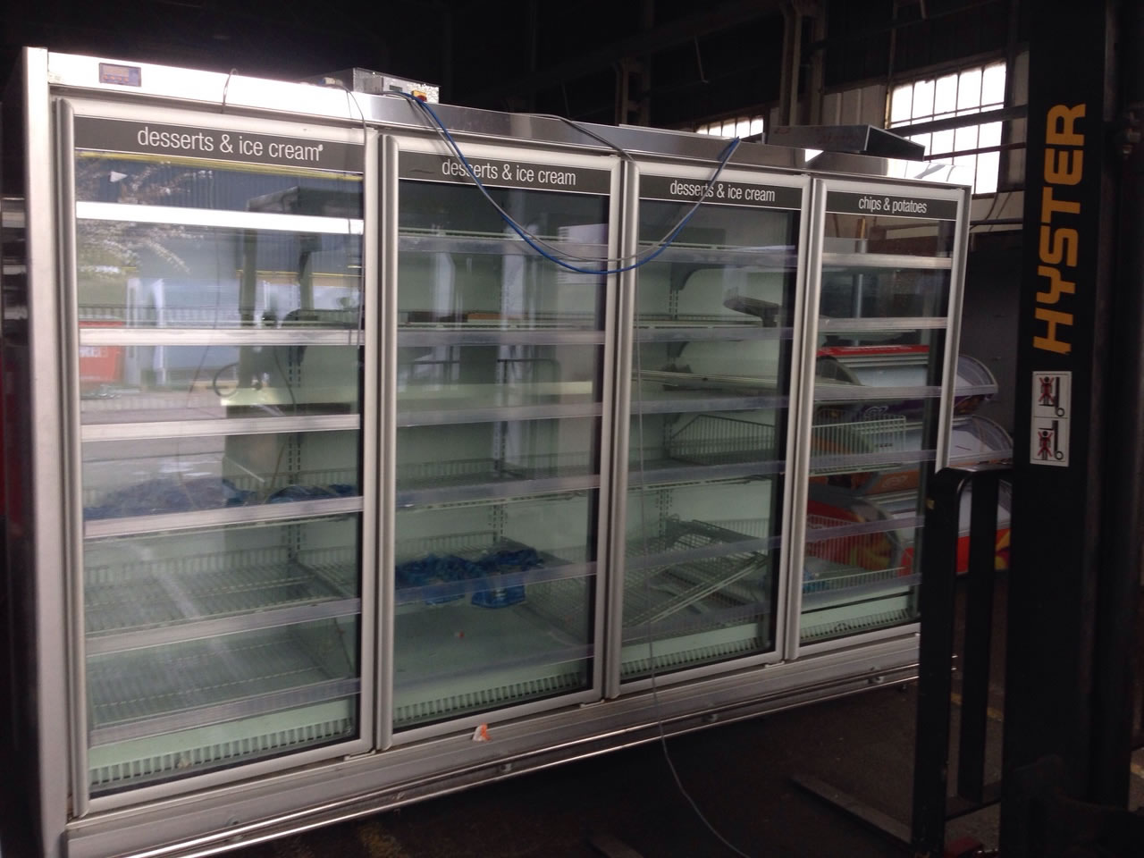 Used display freezers and soft scoop ice cream displays area upright glass door remote freezers planetlyrics Gallery