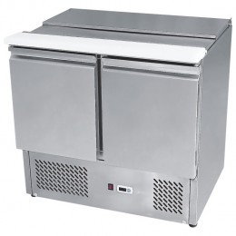 2 door sliding lid saladette, high ambient, stainless, +2 - +8