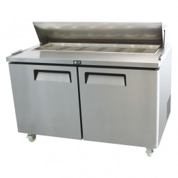 2 door salad prep table, high ambient, stainless, +2 - +8