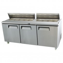 3 door salad prep table, high ambient, stainless, +2 - +8