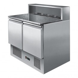 2 door open top marble saladette, high ambient, stainless, +2 - +8, available with 1/3rd or 1/4 gastronorm pans