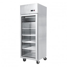 Single door, 600mm (w) x 740mm (d) x 1950mm (h), all stainless, temp. +2 - +8, LED lighting, high ambient spec.